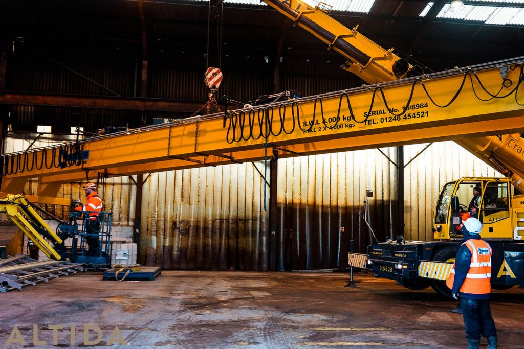 1. Altida Mobile Crane Hire using a Demag AC 40 Tonne City to install a reconditioned overhead crane weighing 9 tonnes for Chesterfield Crane Company