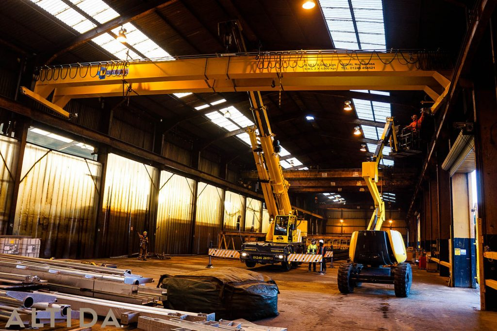 10. Altida Mobile Crane Hire using a Demag AC 40 Tonne City to install a reconditioned overhead crane weighing 9 tonnes for Chesterfield Crane Company