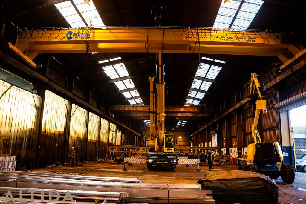 11. Altida Mobile Crane Hire using a Demag AC 40 Tonne CIty to install a reconditioned overhead crane weighing 9 tonnes for Chesterfield Crane Company