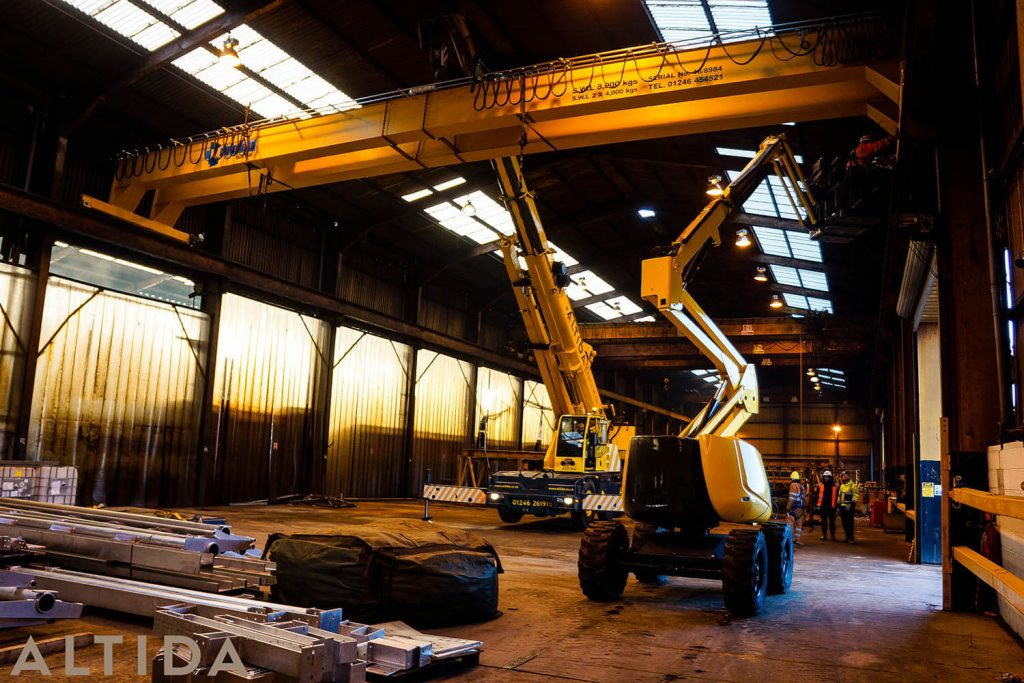 13. Altida Mobile Crane Hire using a Demag AC 40 Tonne City to install a reconditioned overhead crane weighing 9 tonnes for Chesterfield Crane Company