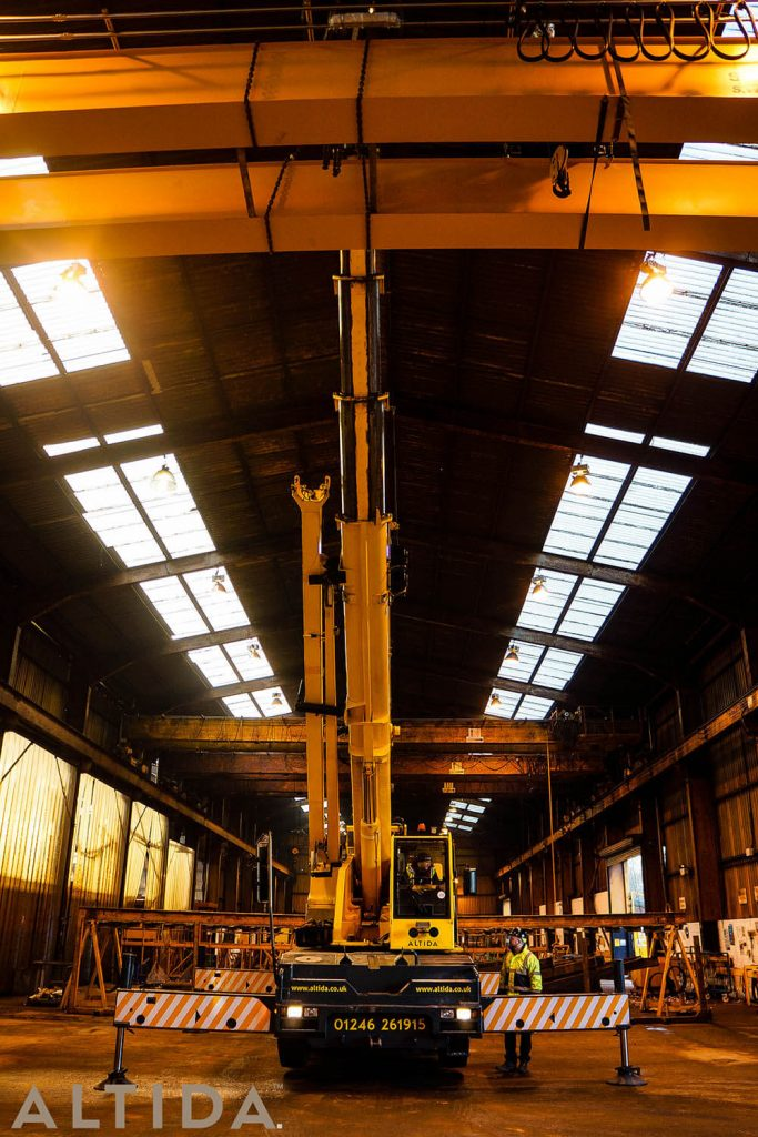 16. Altida Mobile Crane Hire using a Demag AC 40 Tonne City to install a reconditioned overhead crane weighing 9 tonnes for Chesterfield Crane Company