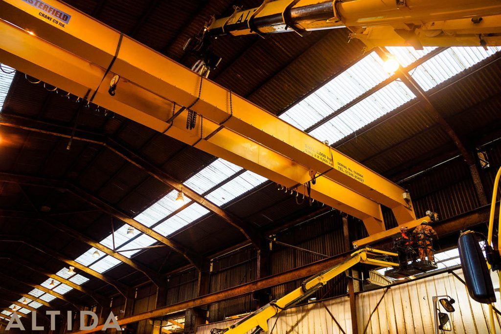 17. Altida Mobile Crane Hire using a Demag AC 40 Tonne City to install a reconditioned overhead crane weighing 9 tonnes for Chesterfield Crane Company