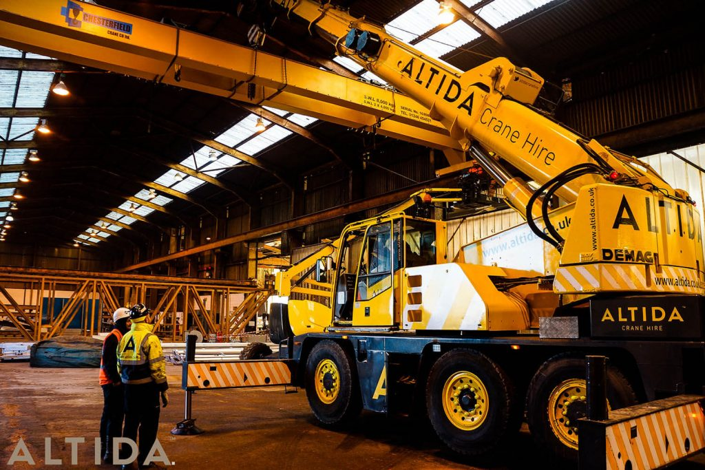 18. Altida Mobile Crane Hire using a Demag AC 40 Tonne City to install a reconditioned overhead crane weighing 9 tonnes for Chesterfield Crane Company