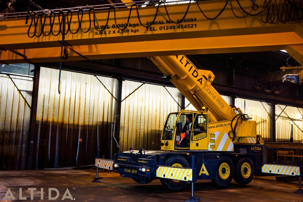 2. Altida Mobile Crane Hire using a Demag AC 40 Tonne City to install a reconditioned overhead crane weighing 9 tonnes for Chesterfield Crane Company