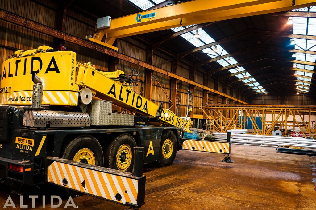 29. Altida Mobile Crane Hire using a Demag AC 40 Tonne City to install a reconditioned overhead crane weighing 9 tonnes for Chesterfield Crane Company