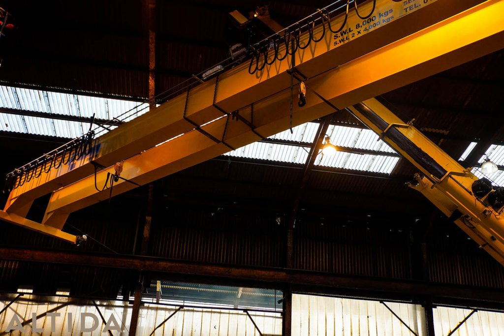 5. Altida Mobile Crane Hire using a Demag AC 40 Tonne City to install a reconditioned overhead crane weighing 9 tonnes for Chesterfield Crane Company