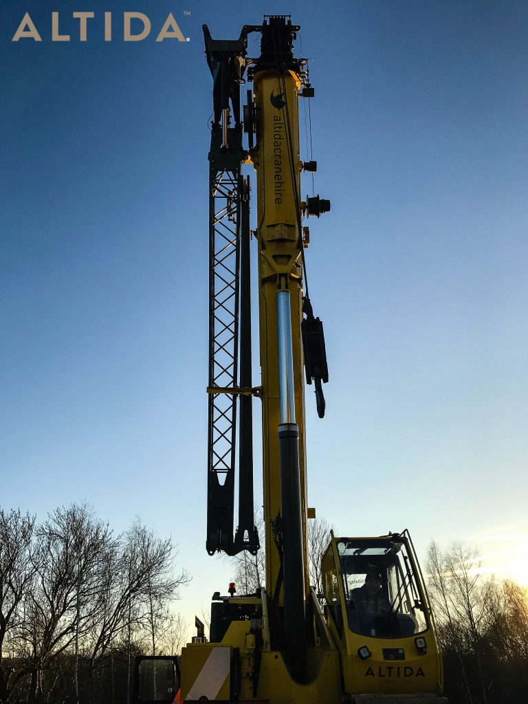 Grove GMK3050 1 50 Tonne Mobile Crane lifting 10 Tonne train track panels for Network Rail 2