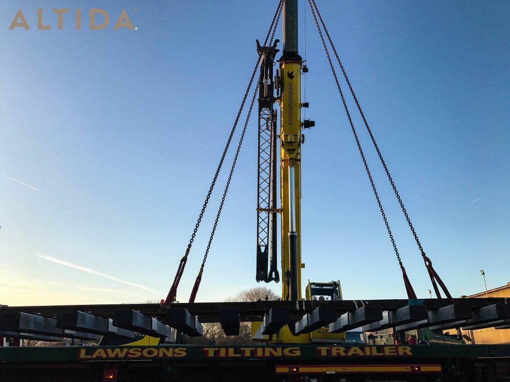 Grove GMK3050 1 50 Tonne Mobile Crane lifting 10 Tonne train track panels for Network Rail 4