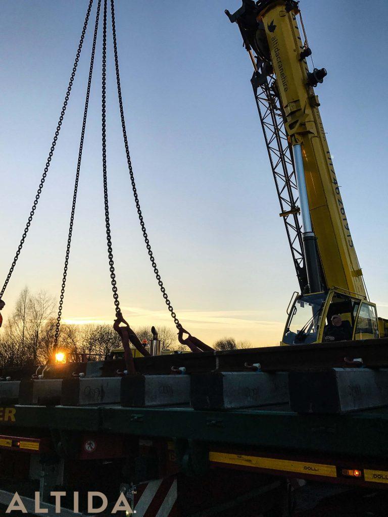 Grove GMK3050 1 50 Tonne Mobile Crane lifting 10 Tonne train track panels for Network Rail 5