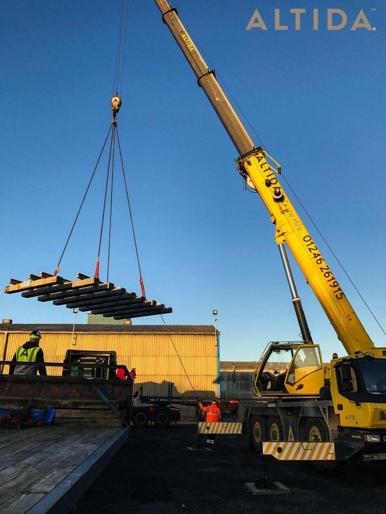 Grove GMK3050 1 50 Tonne Mobile Crane lifting 10 Tonne train track panels for Network Rail 6