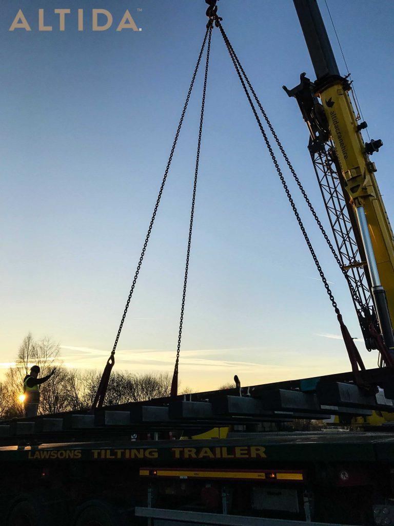 Grove GMK3050 1 50 Tonne Mobile Crane lifting 10 Tonne train track panels for Network Rail 8