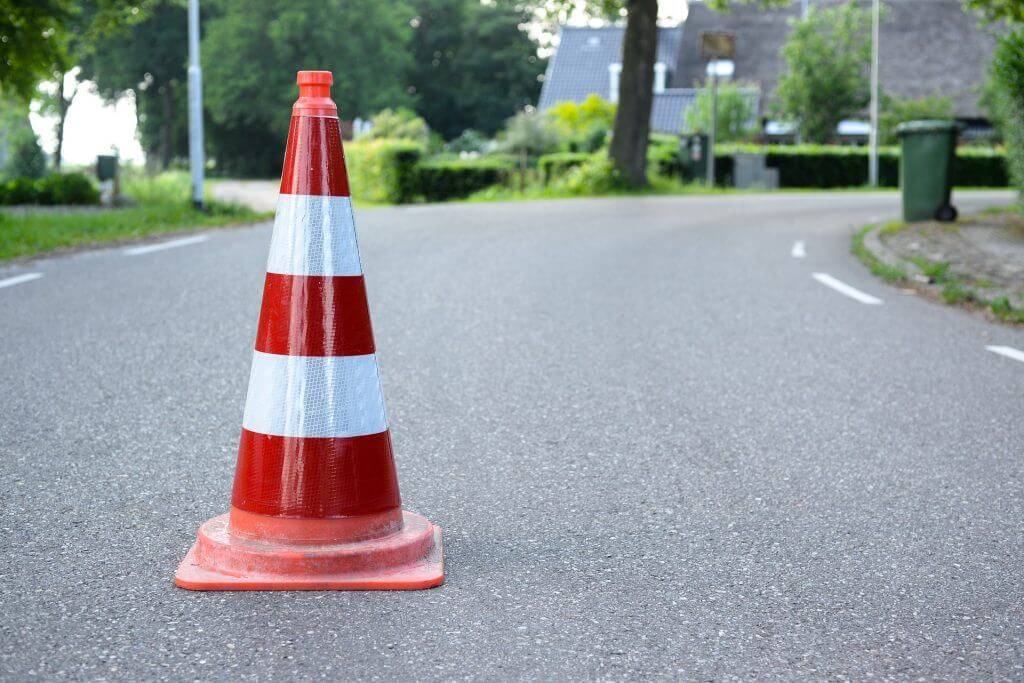 Image of safety cone for Altida blog about crane hire for hot tubs 1024x683 1