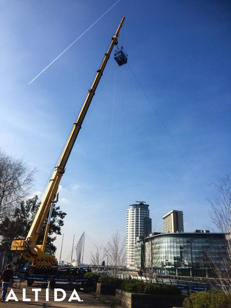 Terex AC603L 60 Tonne All Terrain Crane. Zip Line for BBC Blue Peter in Manchester 5