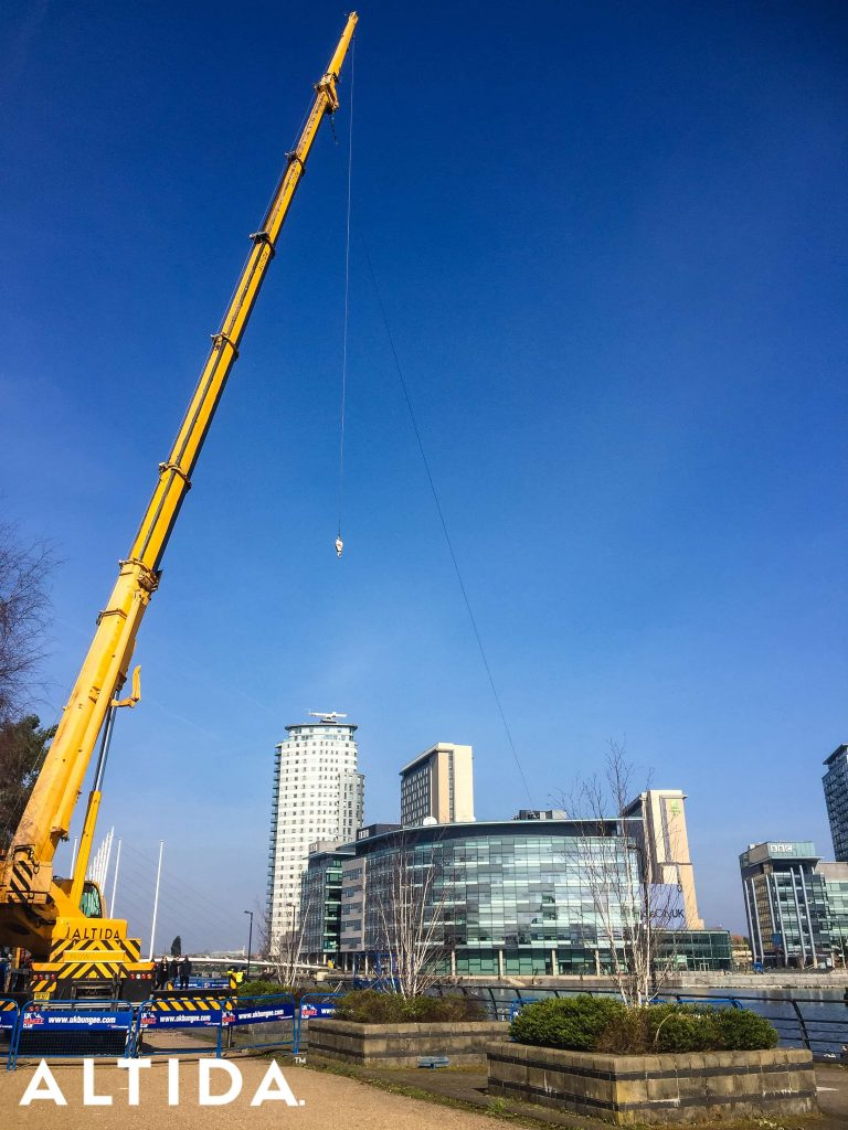 Terex AC603L 60 Tonne All Terrain Crane. Zip Line for BBC Blue Peter in Manchester 7
