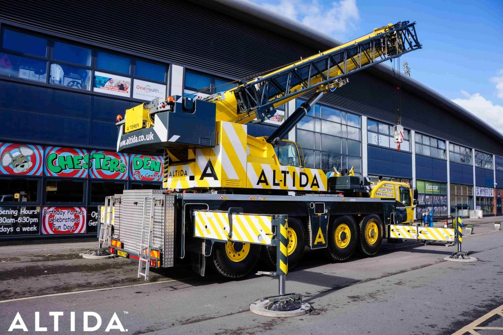 Terex Demag AC 100 Tonne 4L Mobile Crane and Altida Man Riding Cage at Chesterfield Football Club working Maintenance after Storm Doris 10