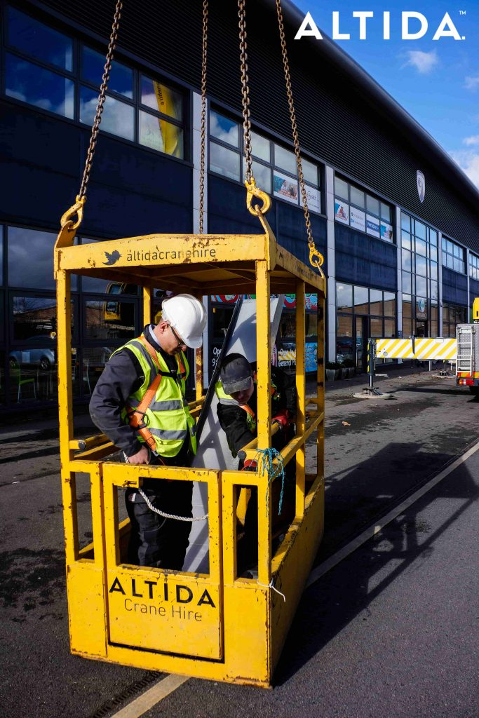 Terex Demag AC 100 Tonne 4L Mobile Crane and Altida Man Riding Cage at Chesterfield Football Club working Maintenance after Storm Doris 11