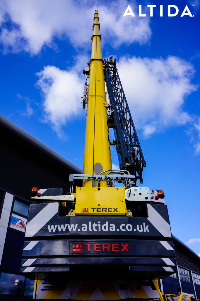 Terex Demag AC 100 Tonne 4L Mobile Crane and Altida Man Riding Cage at Chesterfield Football Club working Maintenance after Storm Doris 12