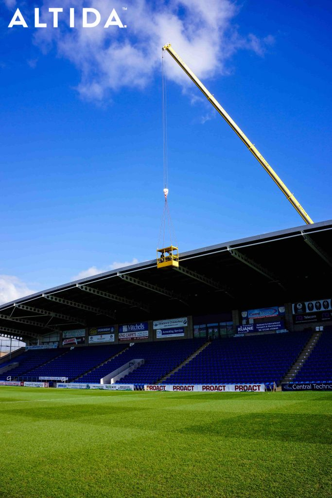 Terex Demag AC 100 Tonne 4L Mobile Crane and Altida Man Riding Cage at Chesterfield Football Club working Maintenance after Storm Doris 13