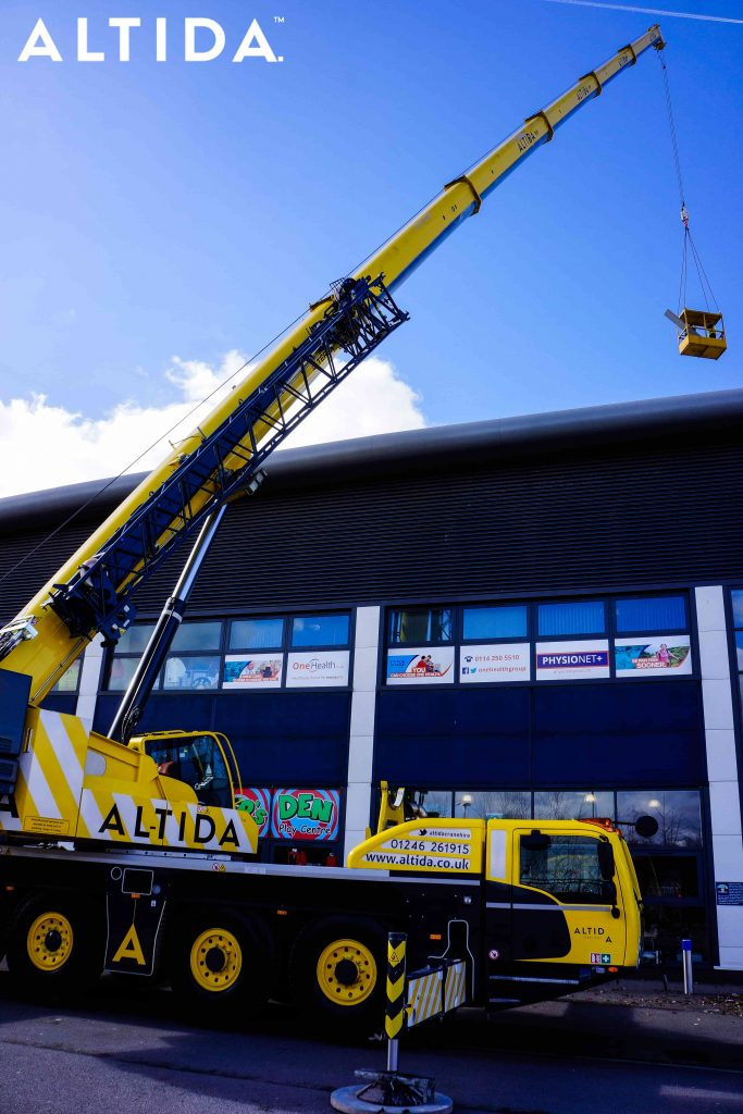 Terex Demag AC 100 Tonne 4L Mobile Crane and Altida Man Riding Cage at Chesterfield Football Club working Maintenance after Storm Doris 14