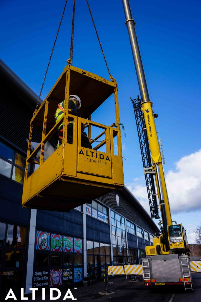 Terex Demag AC 100 Tonne 4L Mobile Crane and Altida Man Riding Cage at Chesterfield Football Club working Maintenance after Storm Doris 15