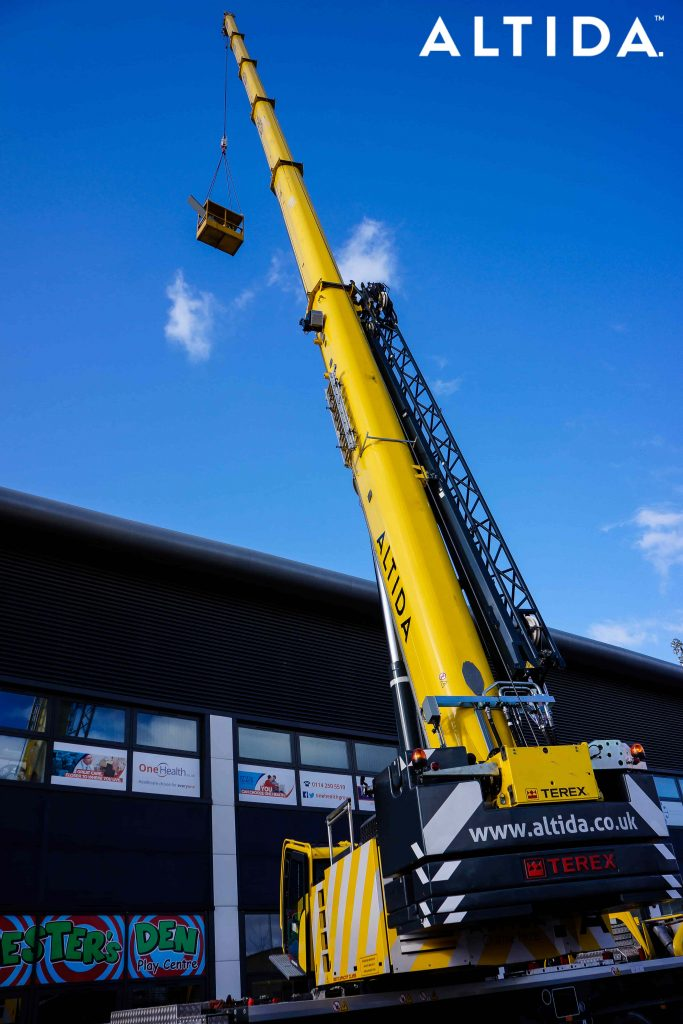 Terex Demag AC 100 Tonne 4L Mobile Crane and Altida Man Riding Cage at Chesterfield Football Club working Maintenance after Storm Doris 16