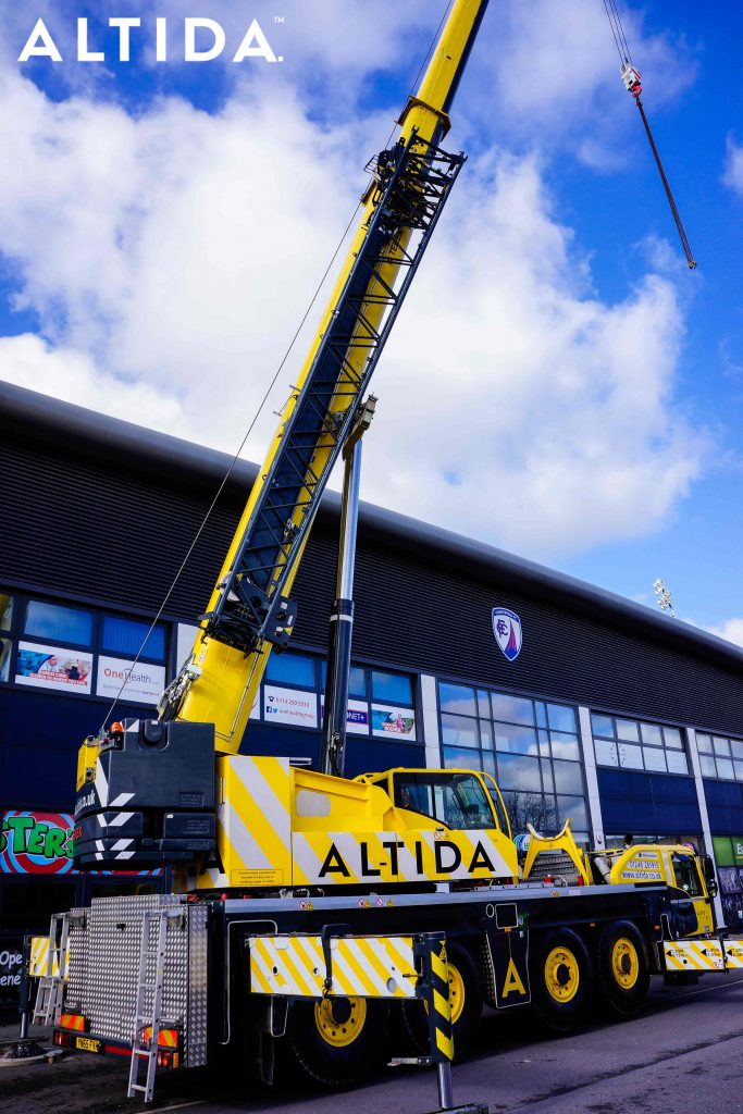 Terex Demag AC 100 Tonne 4L Mobile Crane and Altida Man Riding Cage at Chesterfield Football Club working Maintenance after Storm Doris 6