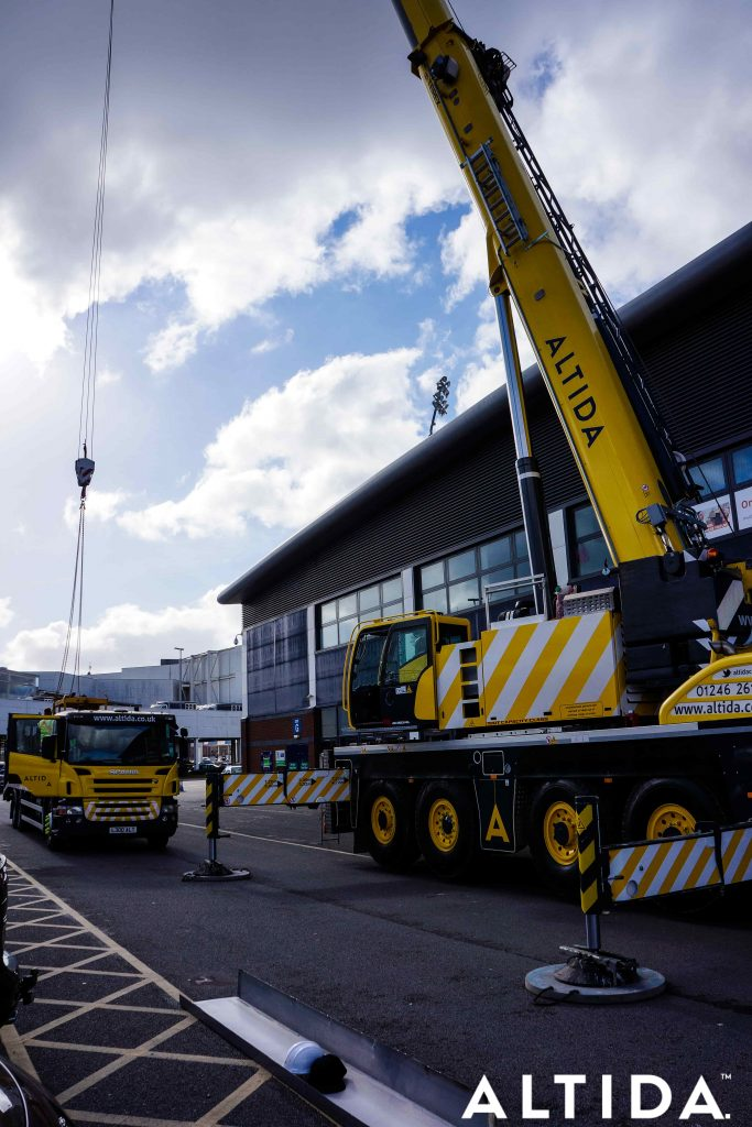 Terex Demag AC 100 Tonne 4L Mobile Crane and Altida Man Riding Cage at Chesterfield Football Club working Maintenance after Storm Doris 7