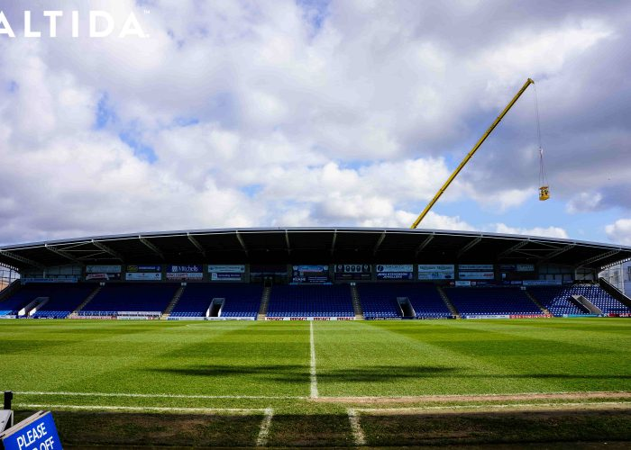 Terex Demag AC 100 Tonne 4L Mobile Crane and Altida Man Riding Cage at Chesterfield Football Club working Maintenance after Storm Doris 9